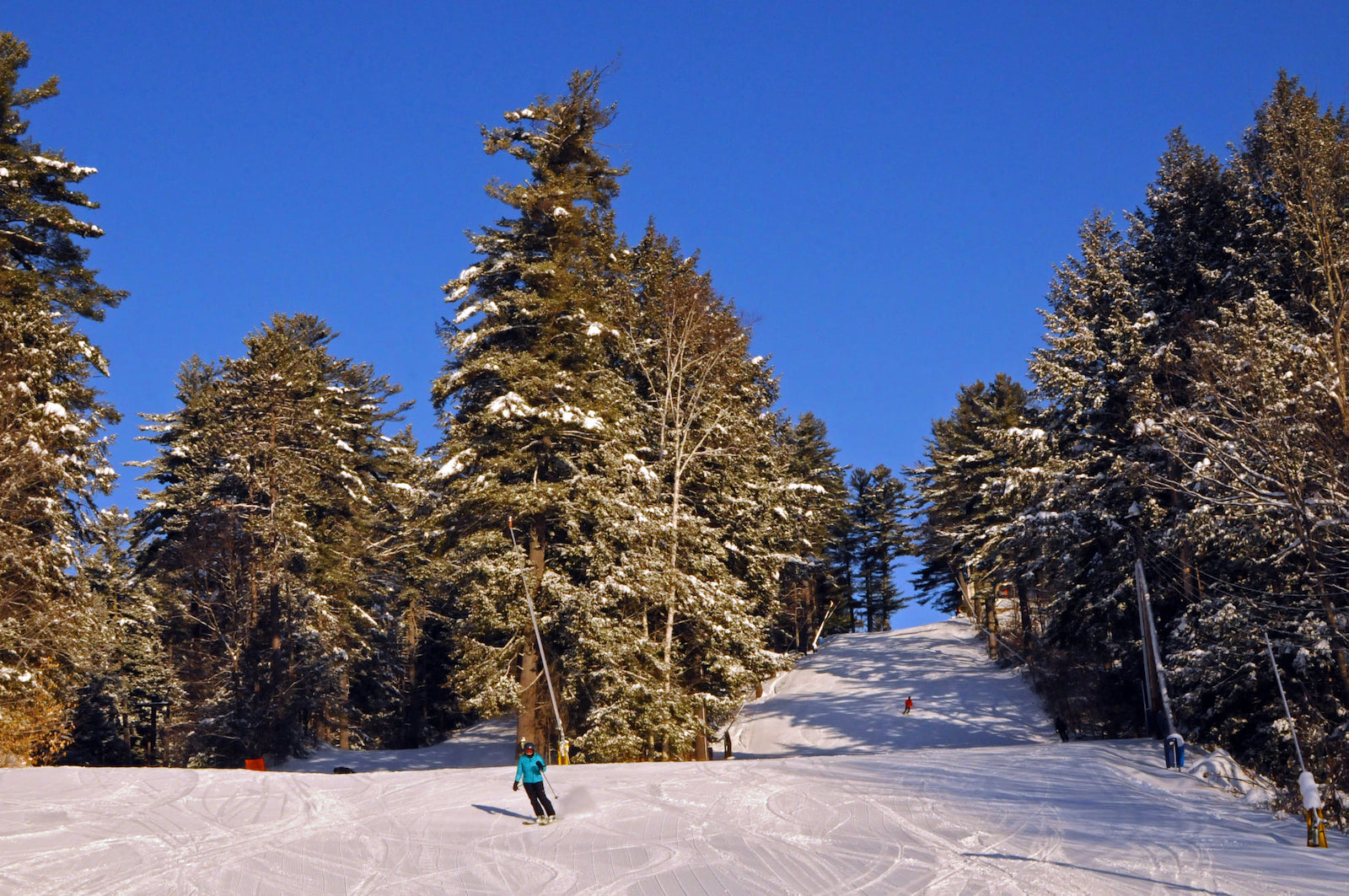 Image of a skier at King Pine Ski Area in New Hampshire on a bluebird day