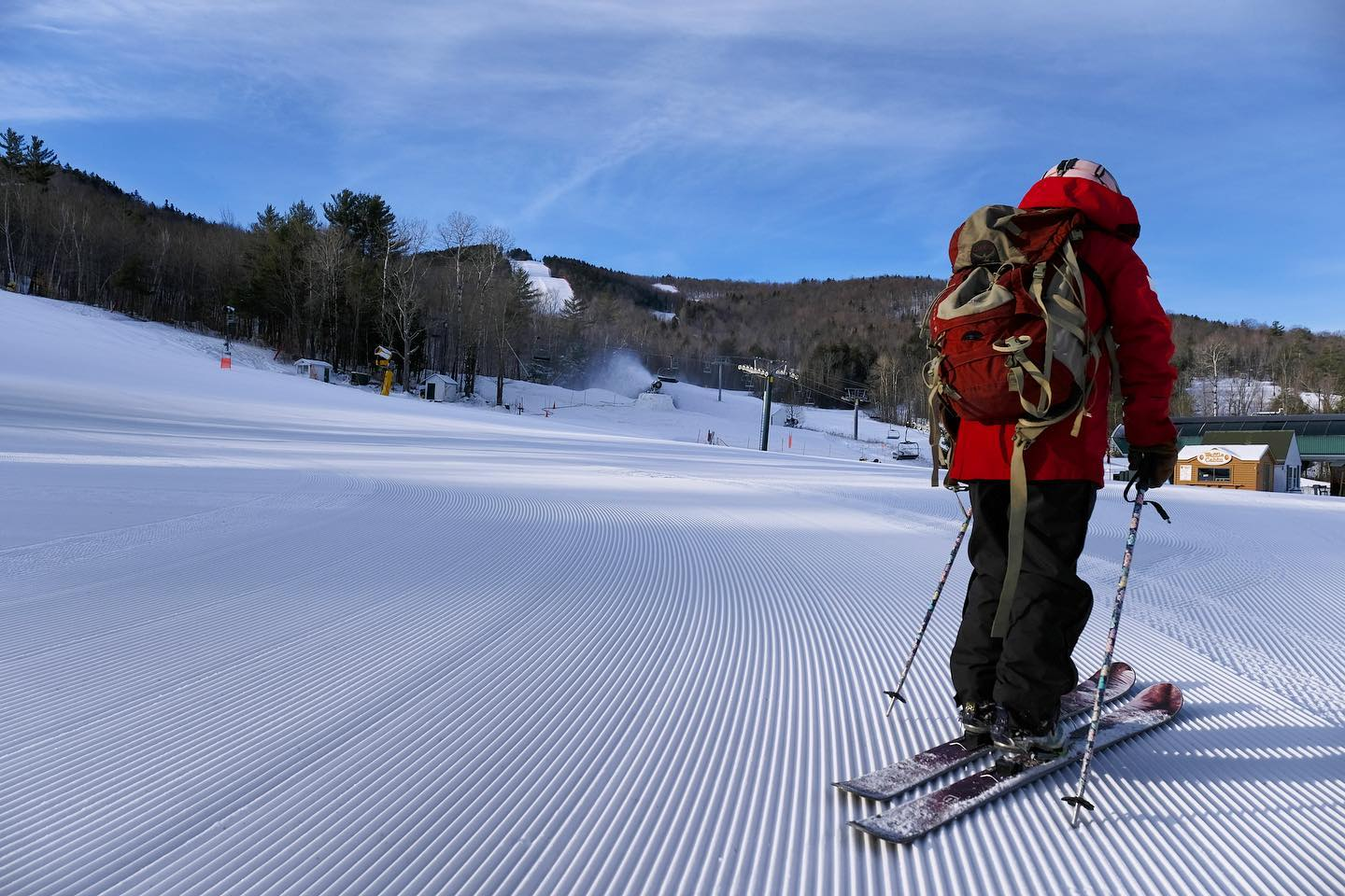 Image of a skier in red at Ragged Mountain Resort in New Hampshire
