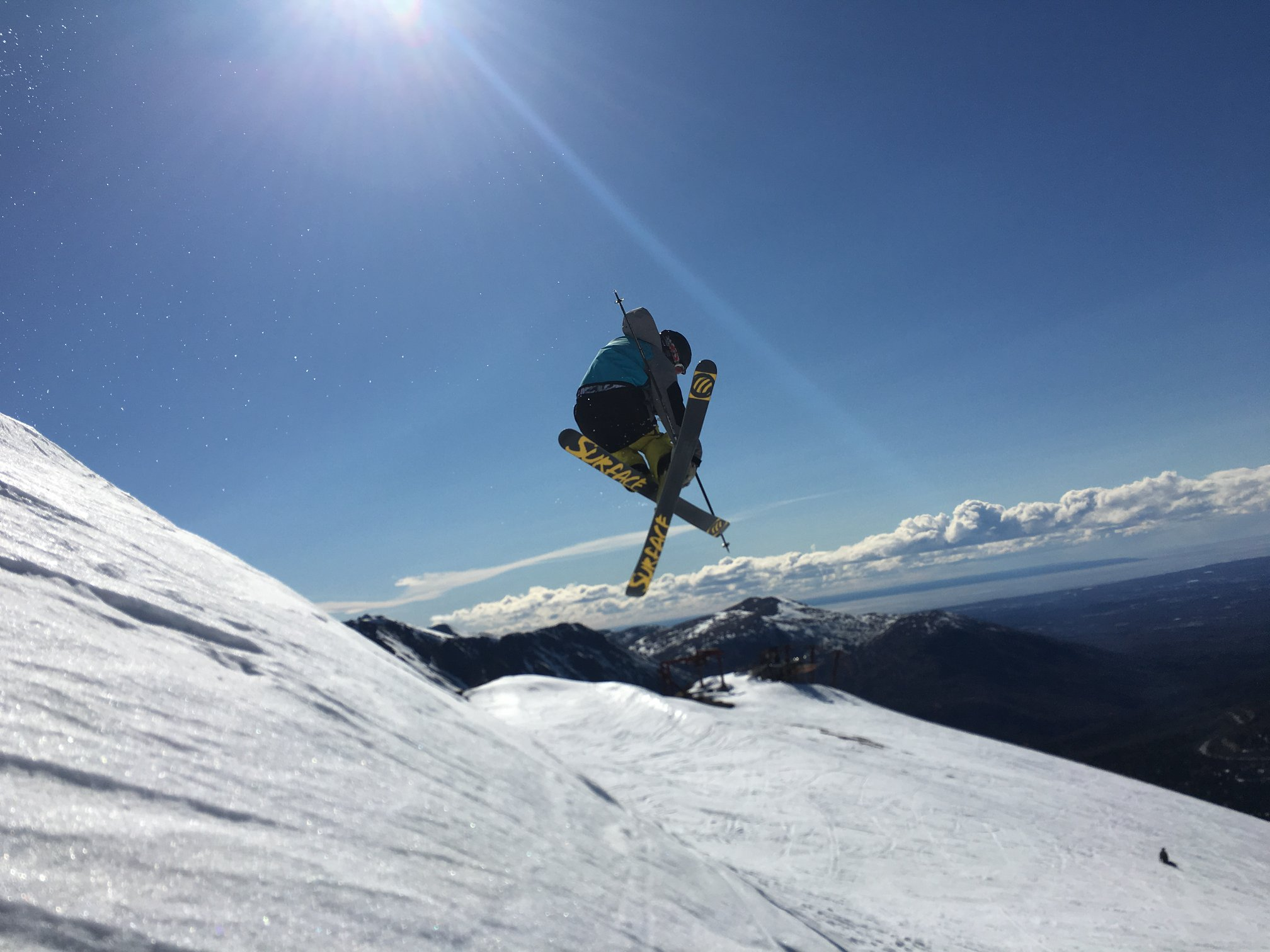 Image of a skier in the air at Arctic Valley Ski Area in Alaska