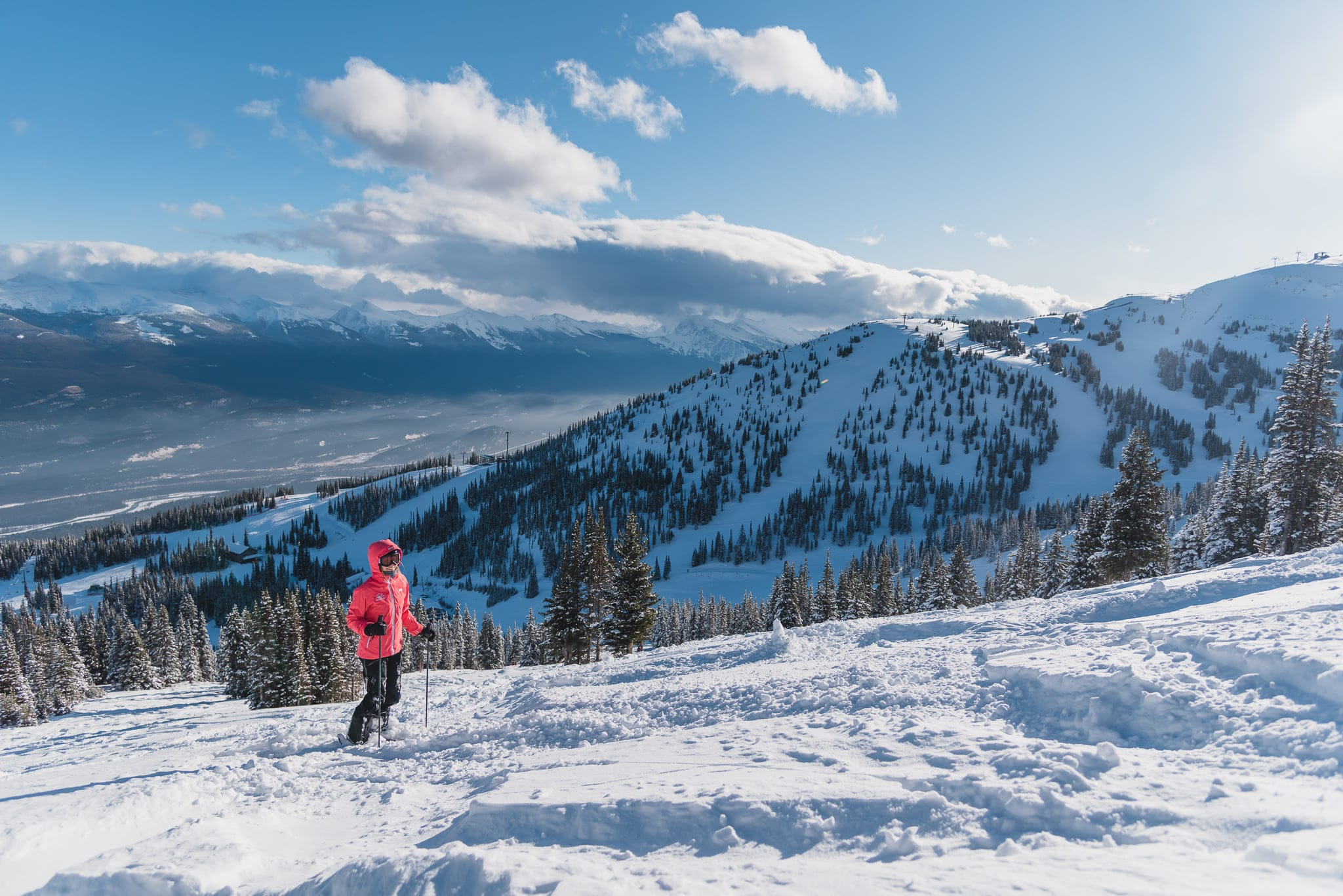 Image of a woman snowshoeing at Marmot Basin near Edmonton Canada