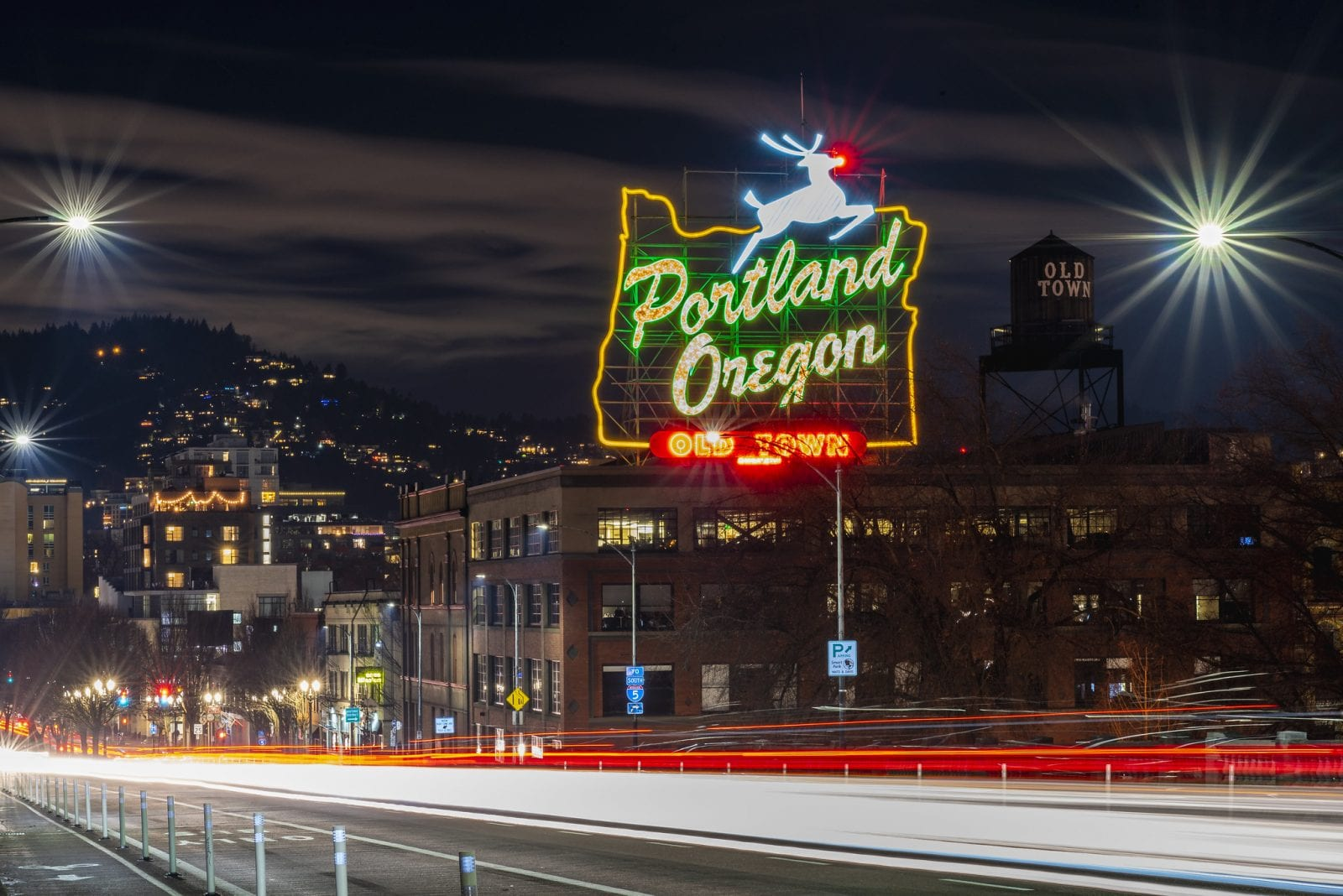 Portland Old Town at night